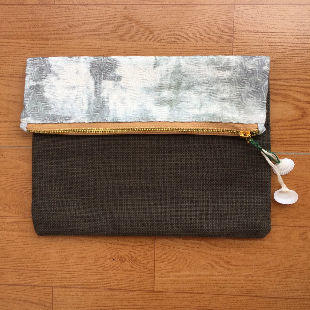 White and Grey Water Color Textured Fold Over Pouch