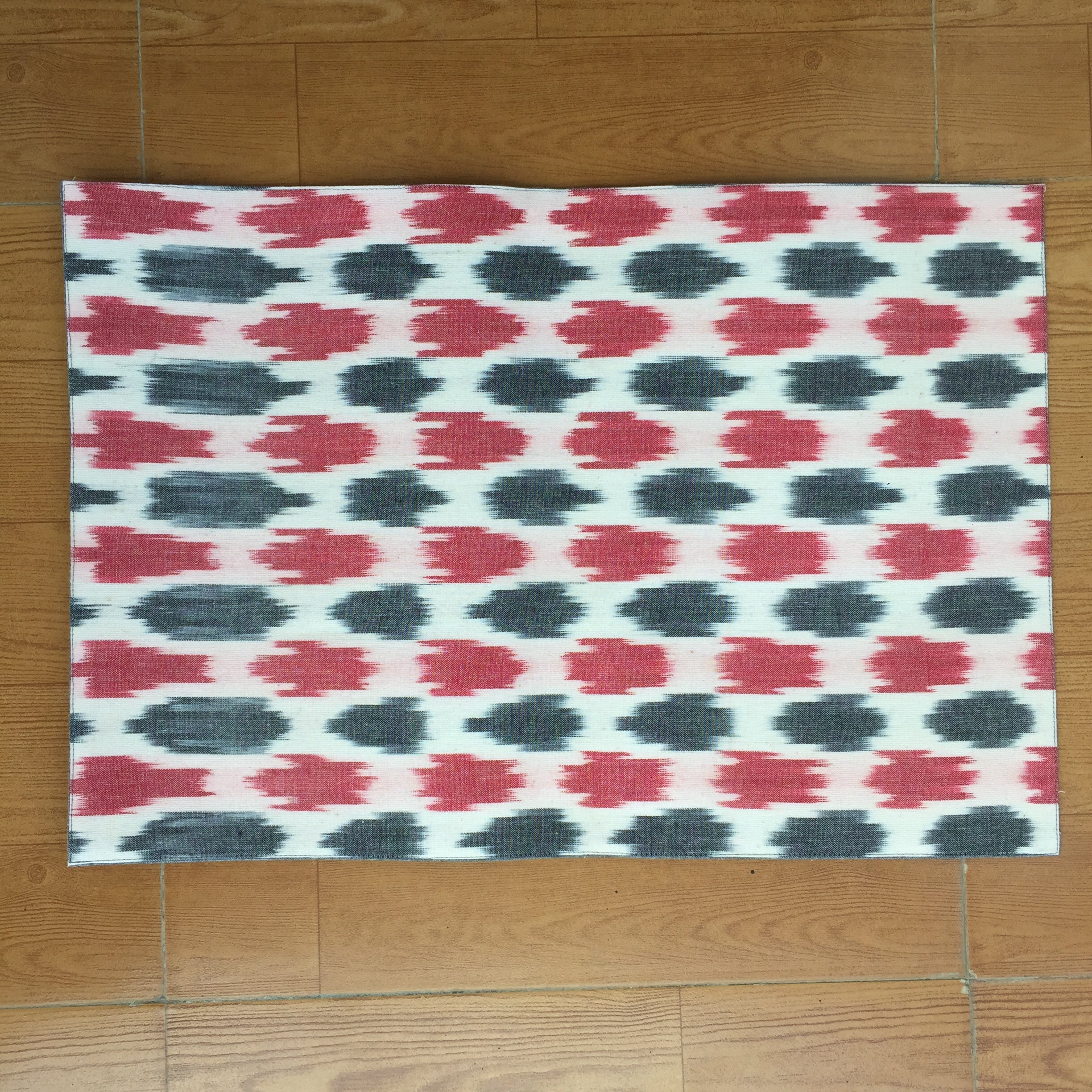 Red and Black Ikat Handwoven Cotton Mat