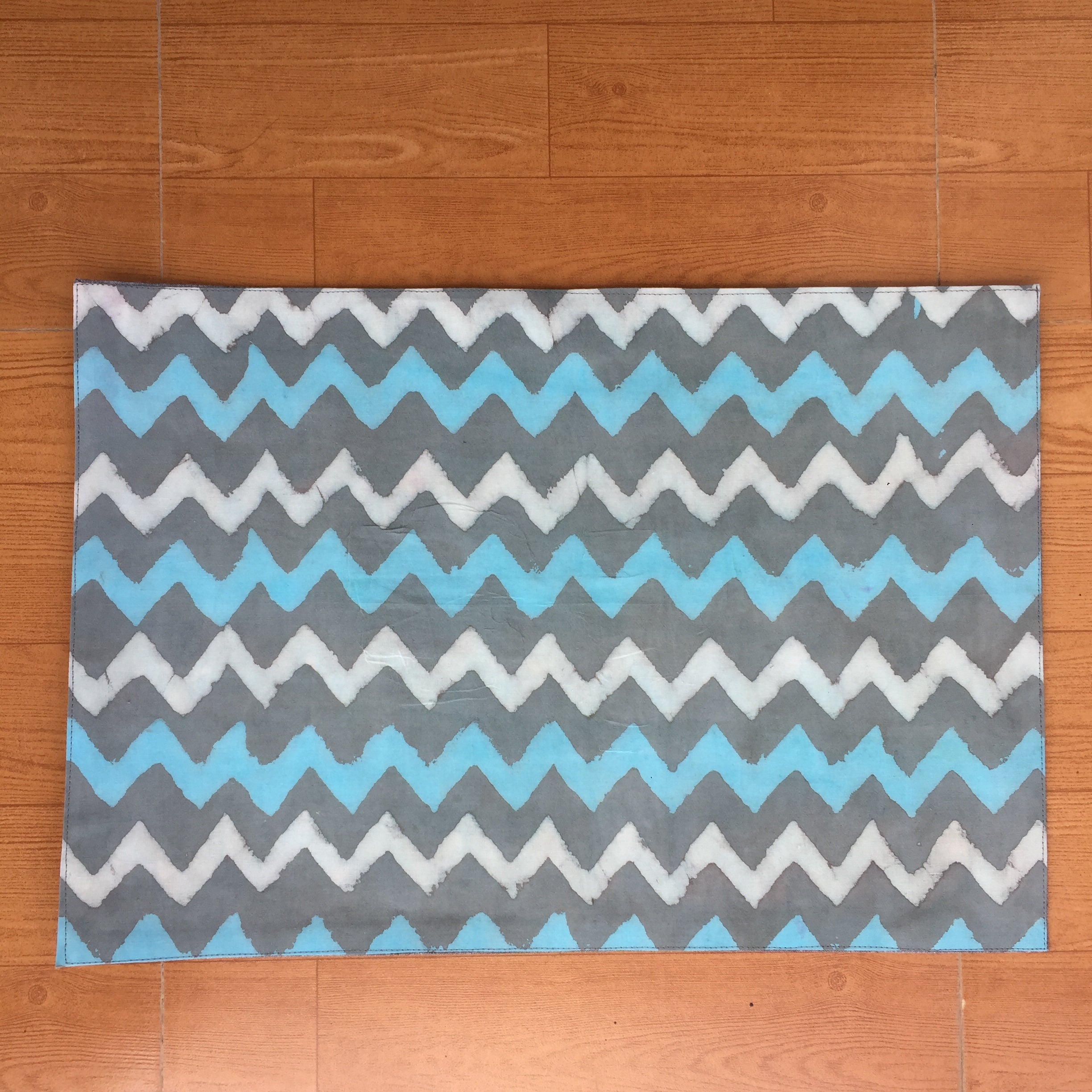 Blue White and Grey Zigzag Cotton Mat