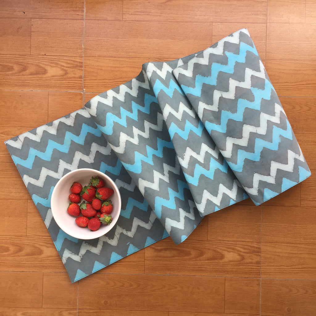 Blue White and Grey Zigzag Cotton Runner