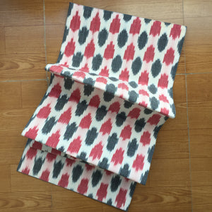 Red and Black Ikat Handwoven Cotton Runner