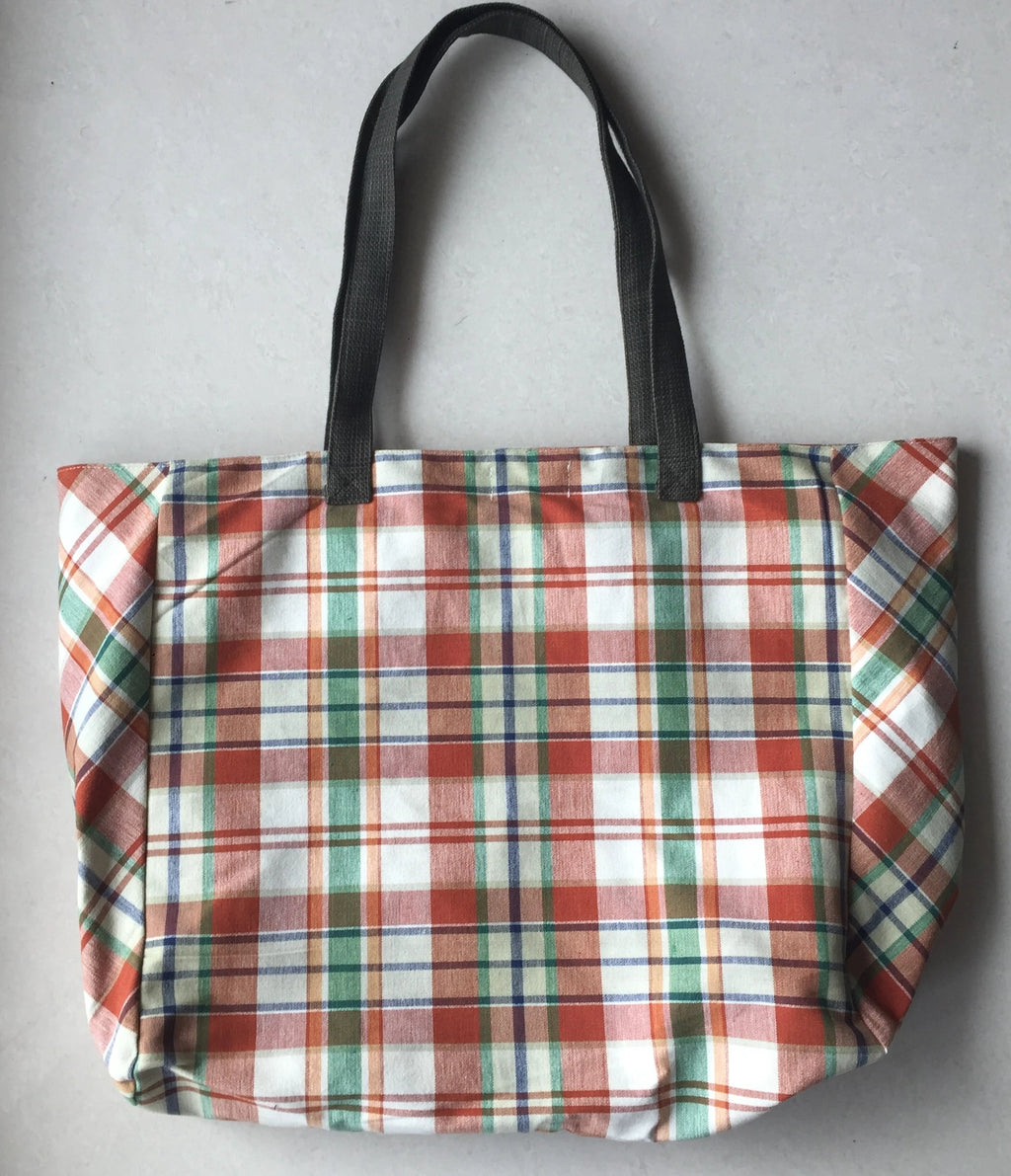 Brown Checkered Tote Bag
