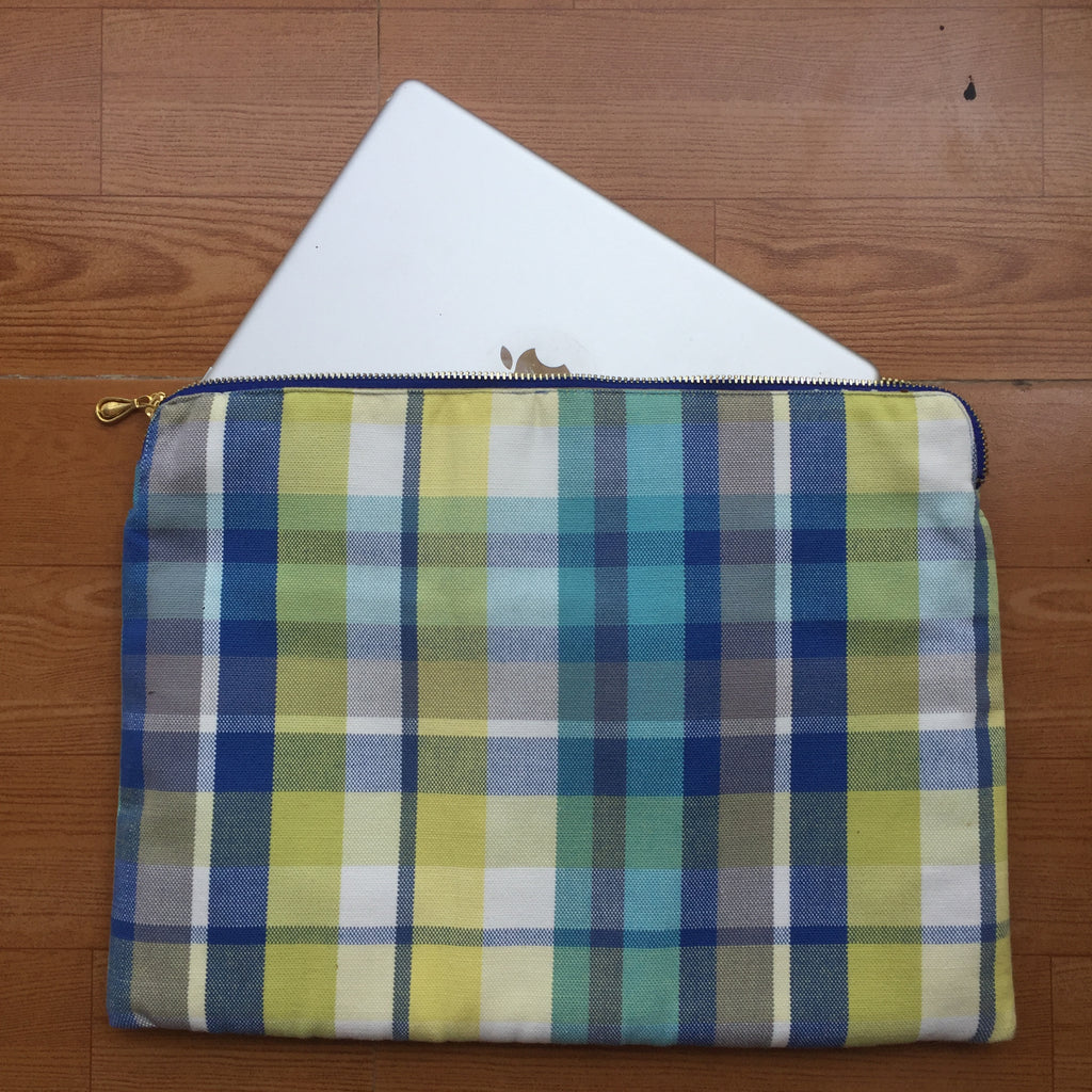 Yellow Blue Checkered Gadget Sleeve