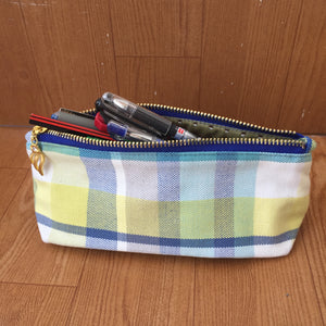 Yellow Blue Checkered Pencil Pouch