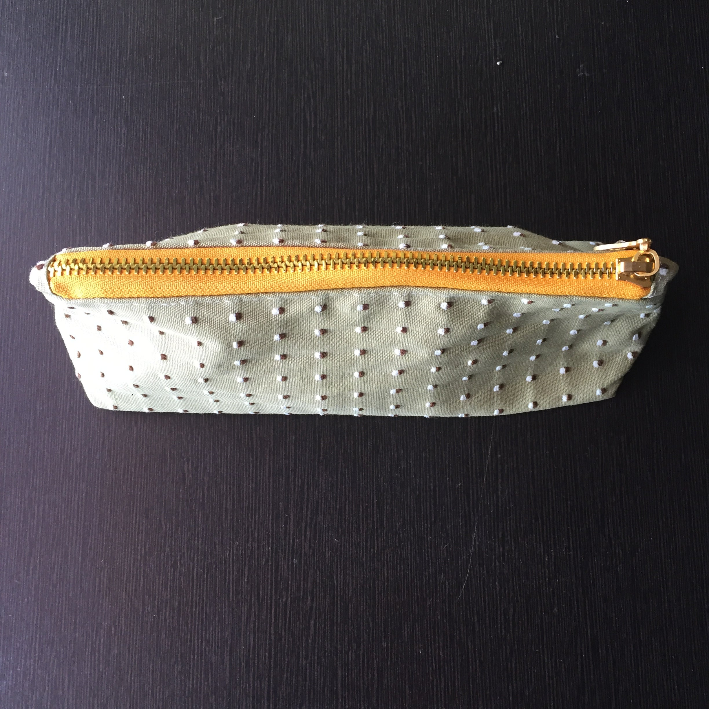 Olive Green Textured Pencil Pouch