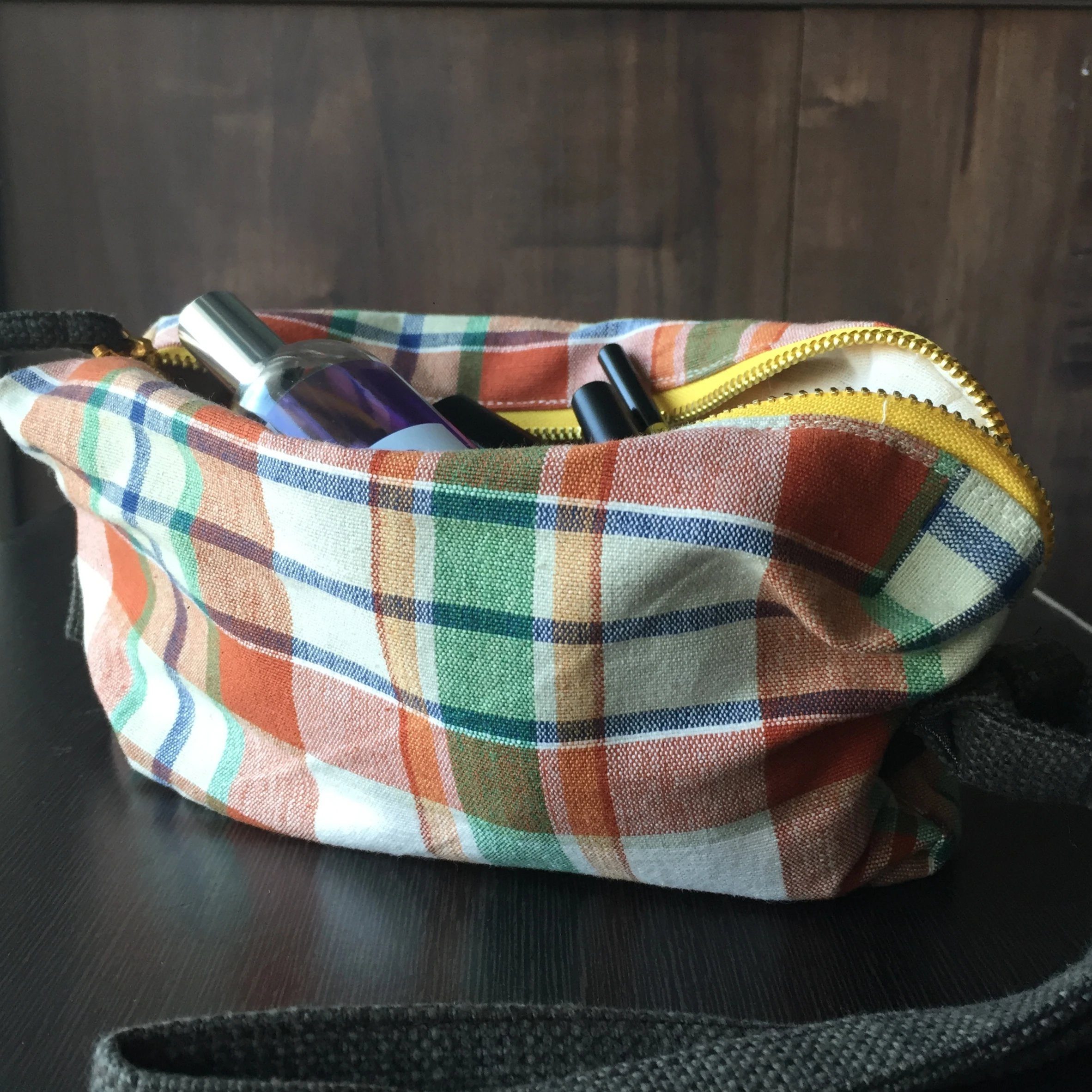 Brown Checkered Toiletry Bag