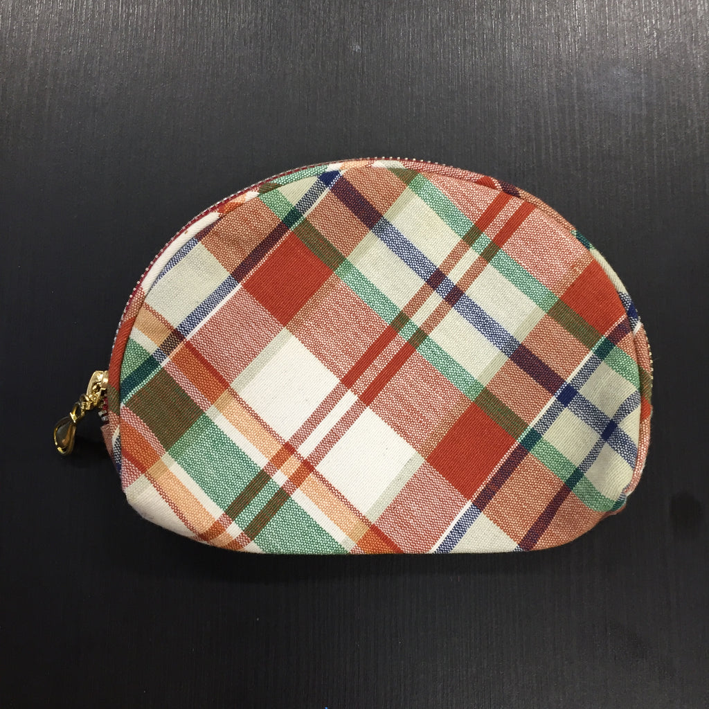 Brown Checkered Pouch