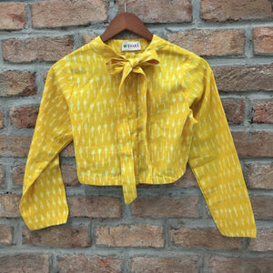 Yellow Ikat Cotton Blouse/Crop Top