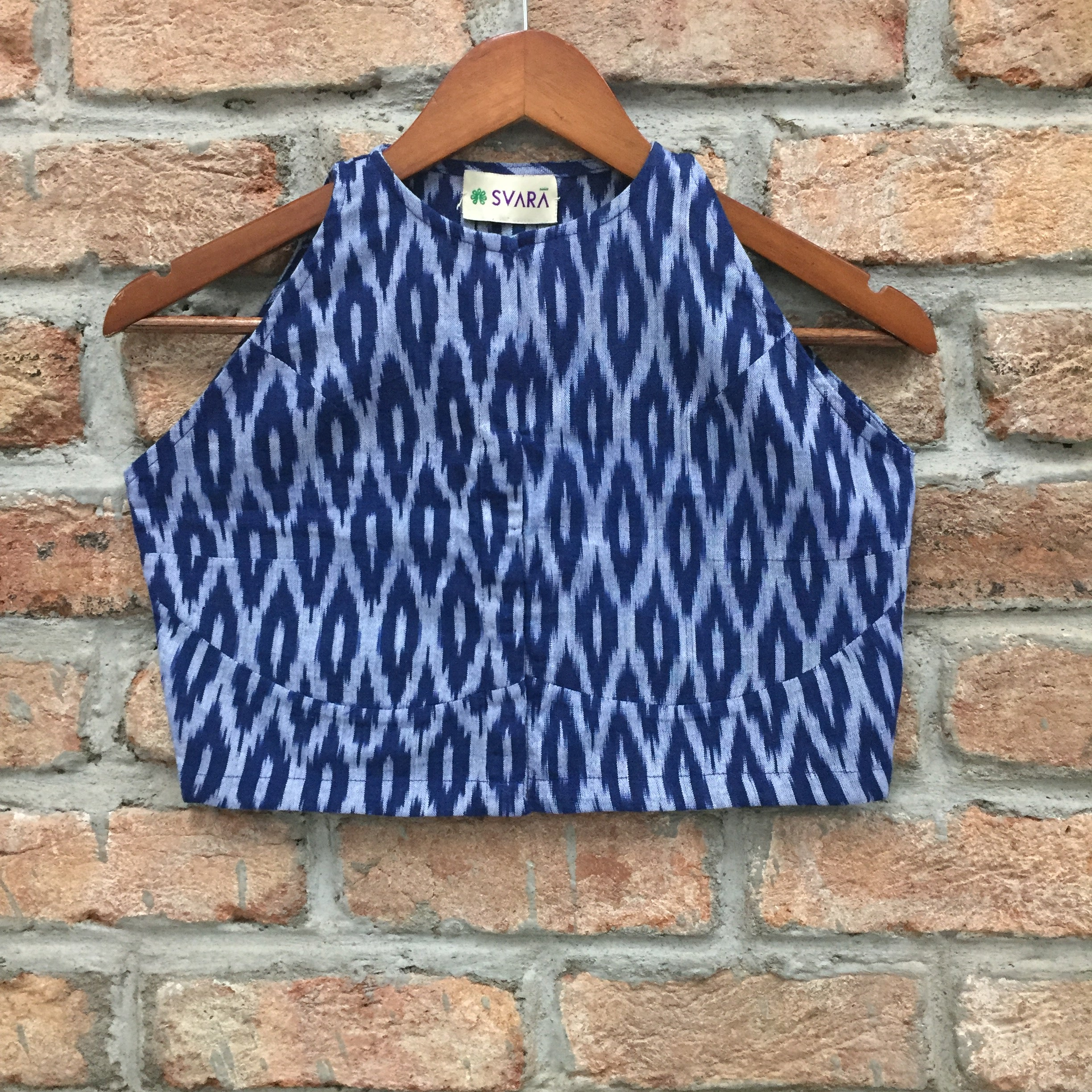 Blue and White Ikat Cotton Blouse/Crop Top