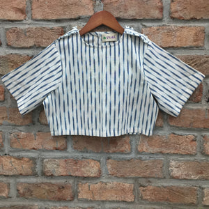 White and Blue Ikat Cotton Blouse/Crop Top