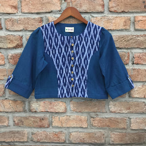 Blue and White Ikat Cotton Crop Top Blouse