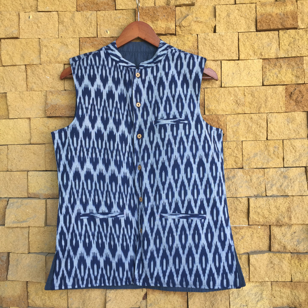 Blue Ikat Cotton Nehru Jacket