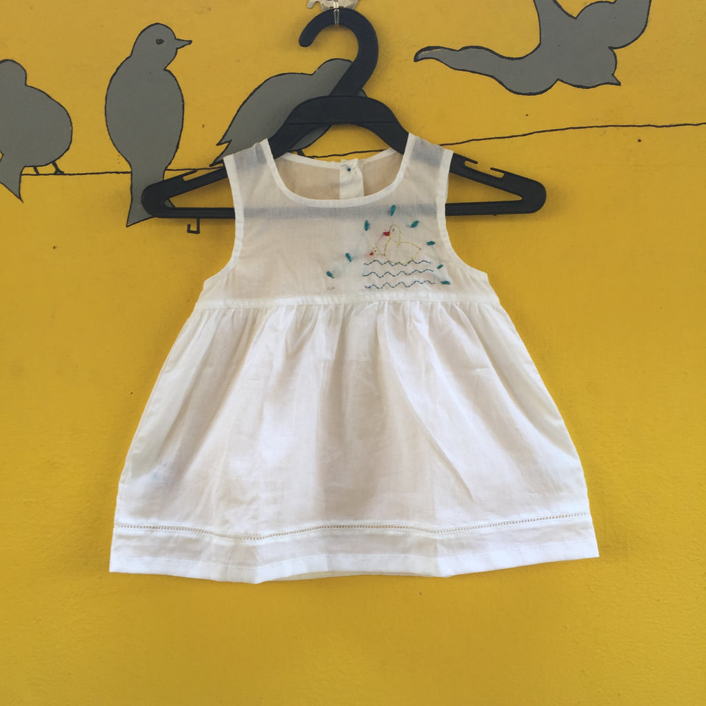 White Handcrafted Mul Cotton Dress with Katha Stich
