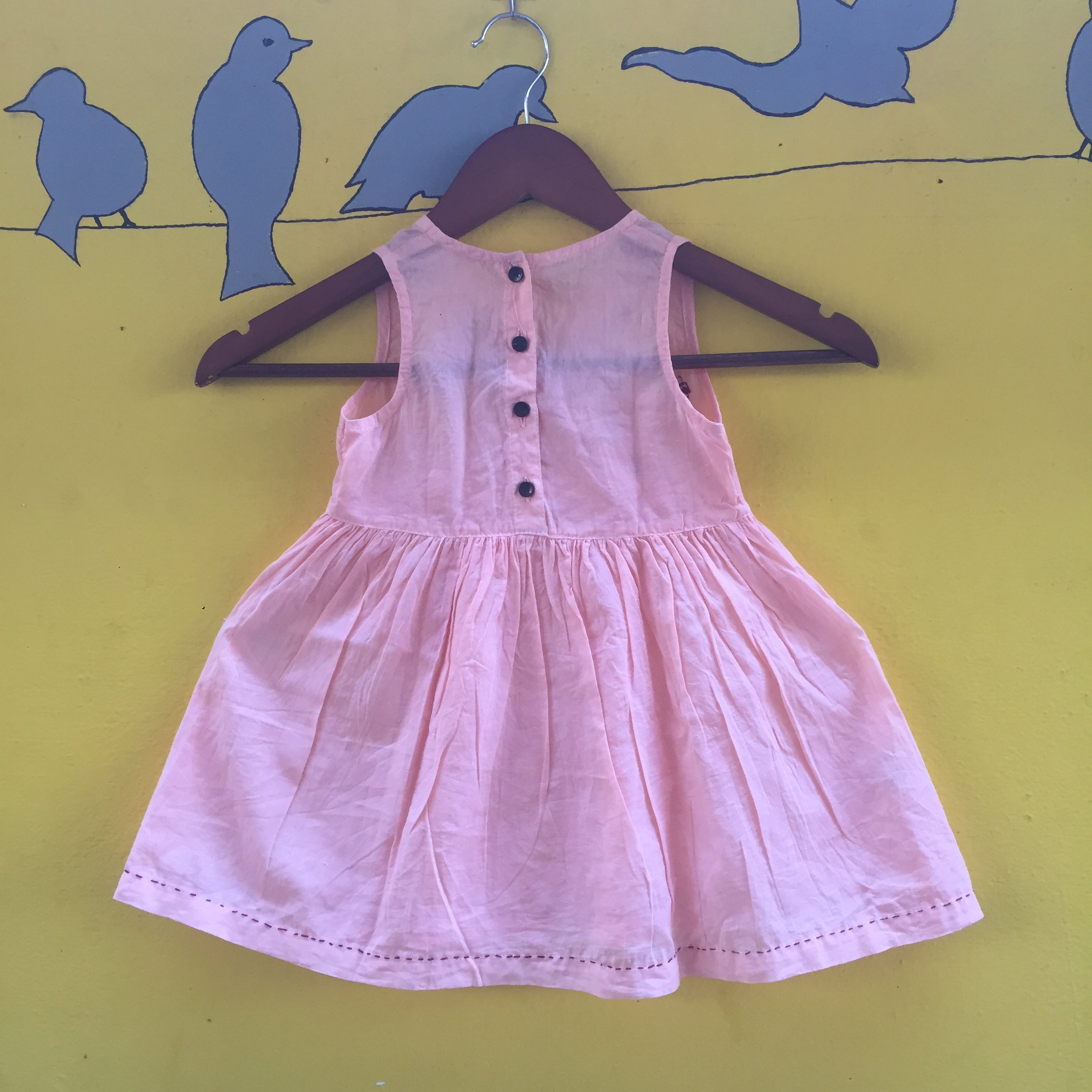 Pink Handcrafted Mul Cotton Dress Detailed with Katha Stich