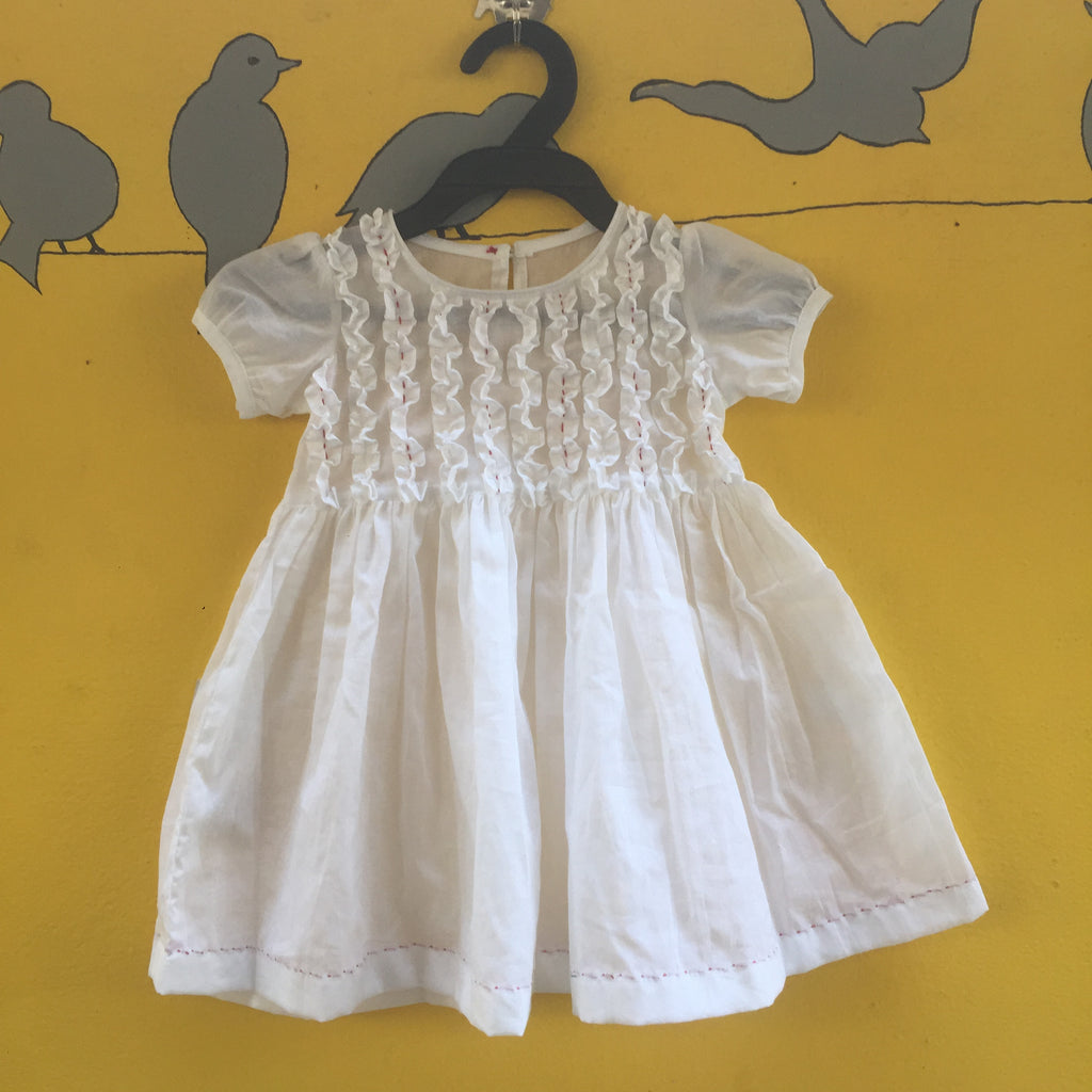 White Handcrafted Mul Cotton Smocking Dress with Katha Stich Detailing