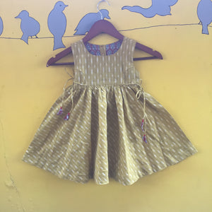Olive Green Ikat Handcrafted Cotton Dress