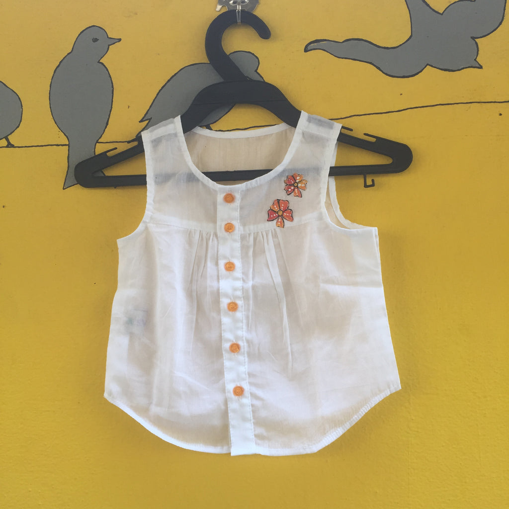 White Handcrafted Mul Cotton Vest