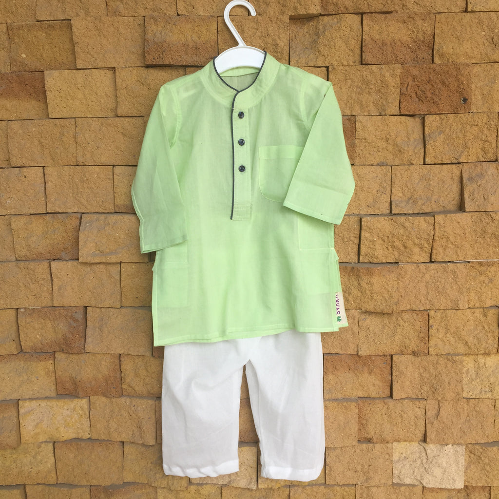 Green and White Mul Cotton Kurta Pajama