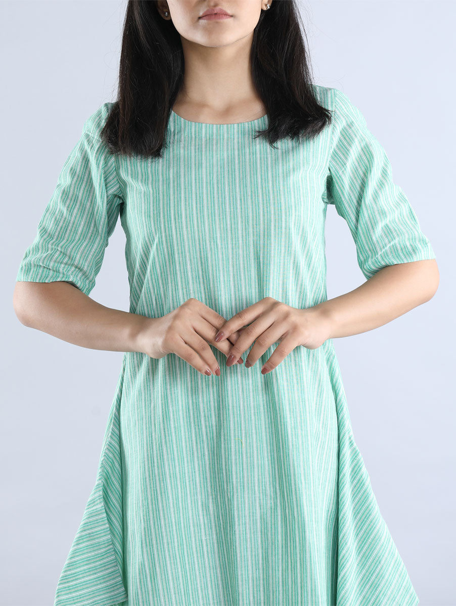 Green Striped Cotton Dress with Inner
