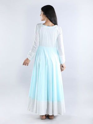 White and Sky Blue Mul Cotton Anarkali Kurta