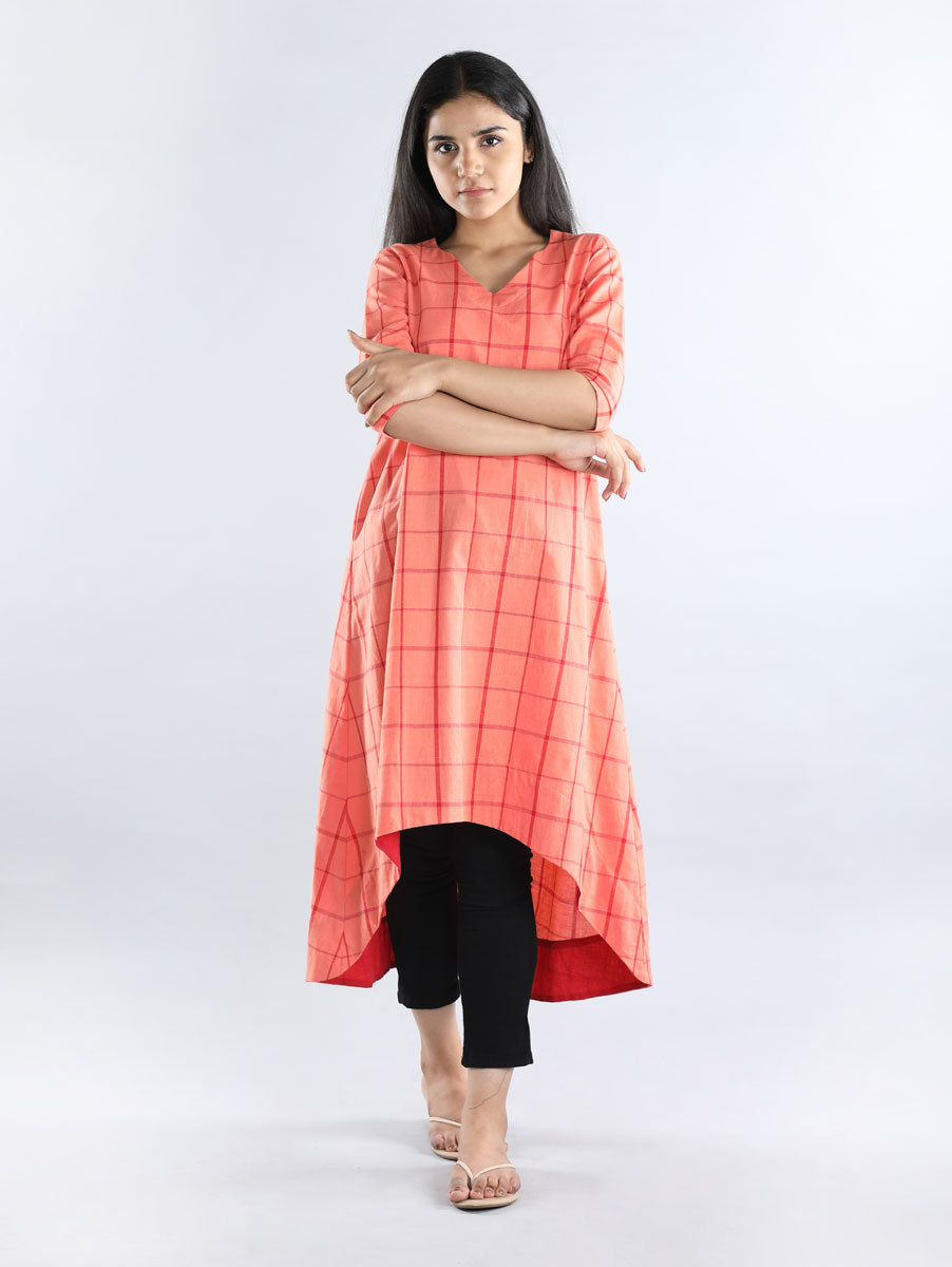 Peach with Red Checks Cotton Dress