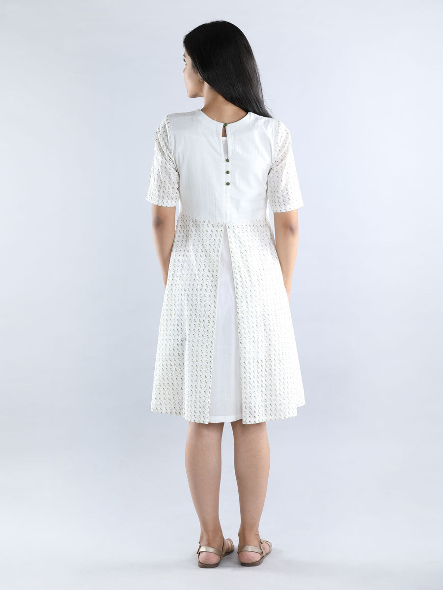 Blockprinted White Mul Cotton Dress