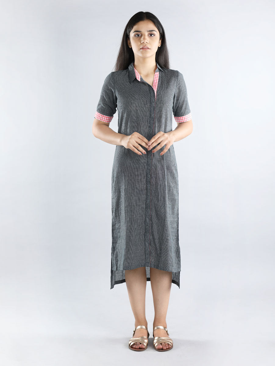 Black and White Checkered Hand Spun Cotton Dress
