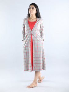 Grey with Red Checks Cotton Dress with Inner