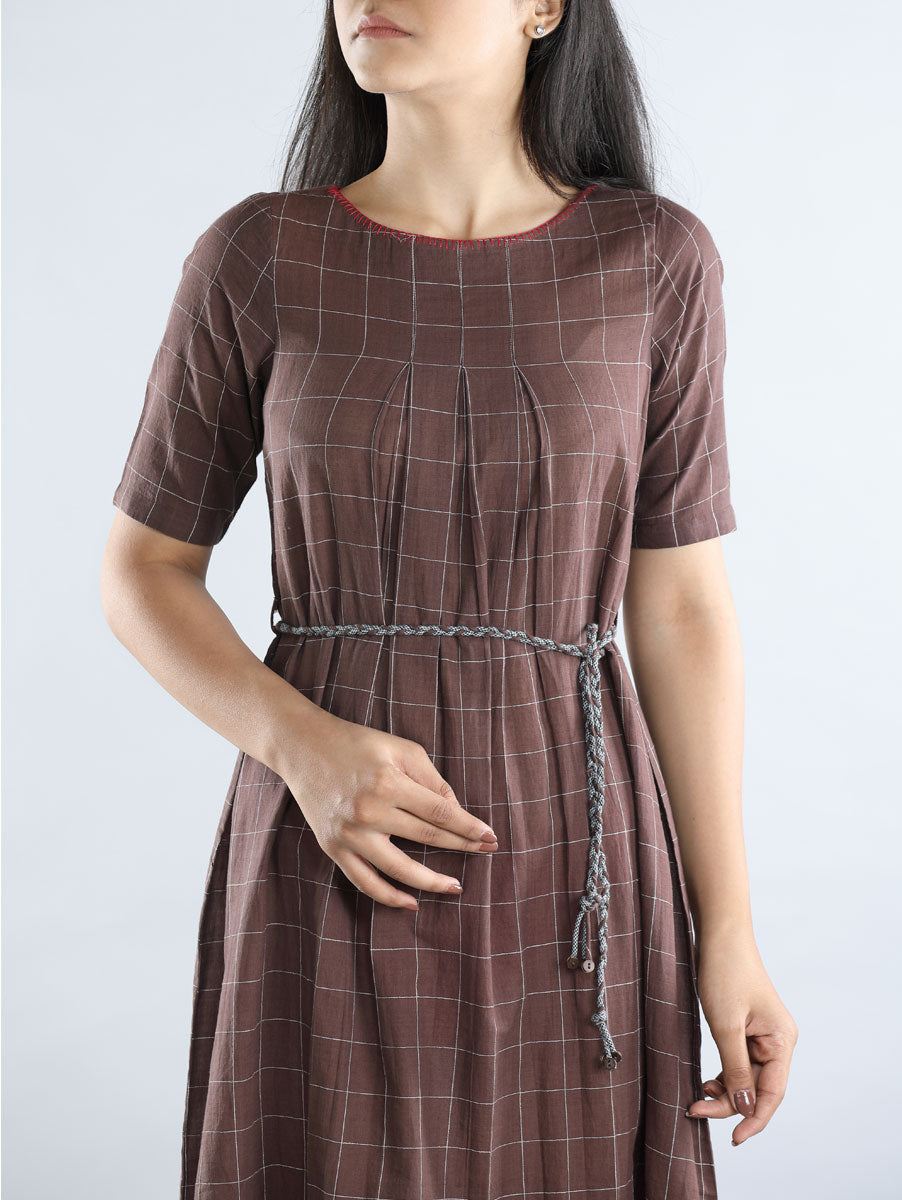 Brown & White Broad Checkered Hand Spun Cotton Dress