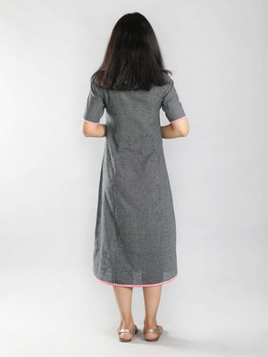 Black & White Checkered Hand Spun Cotton Dress