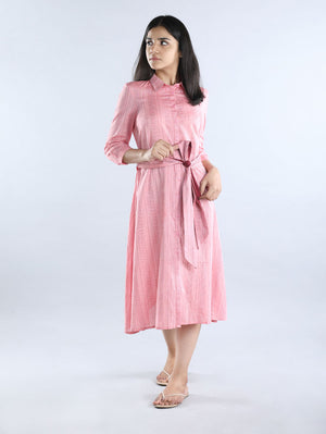 Pink Striped Cotton Dress with Belt