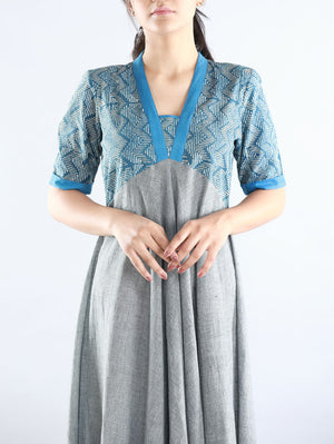 Grey & Blue Hand Spun Cotton Dress
