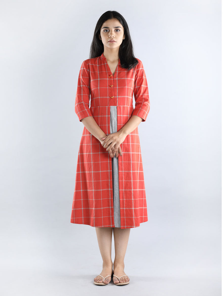Red with Grey Checks Cotton Dress