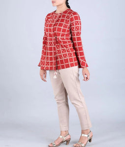 Red Checkered Handwoven cotton Shirt