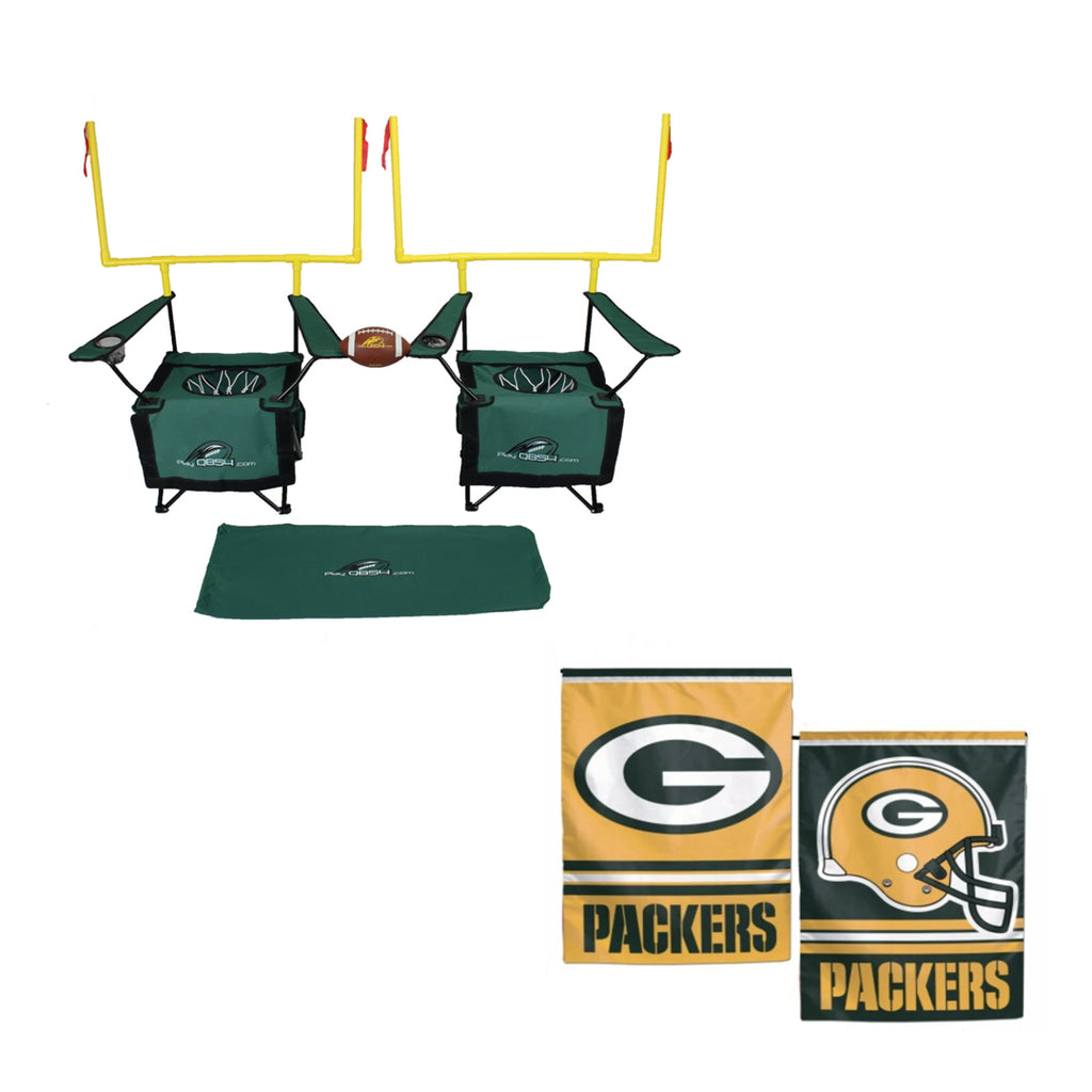 QB54 Packers Bundle - Contains 1 QB54 game and 1 Green Bay Packer Flag