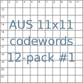 Australian 11x11 codeword puzzles 12-pack no.1