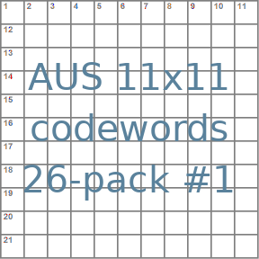Australian 11x11 codeword puzzles 26-pack no.1