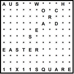 Australian 11x11 Wordsearch puzzle no.302 - Easter