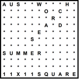 Australian 11x11 Wordsearch puzzle no.303 - Summer