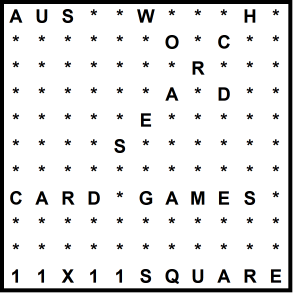 Australian 11x11 Wordsearch puzzle no.304 - card games
