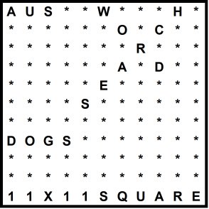 Australian 11x11 Wordsearch puzzle no.310 - dogs