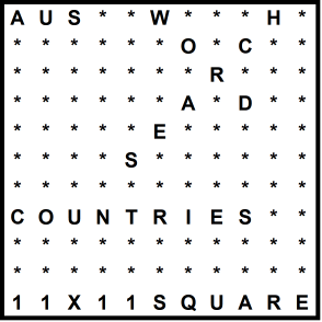 Australian 11x11 Wordsearch puzzle no.311 - countries