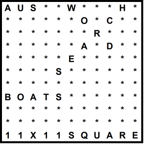 Australian 11x11 Wordsearch puzzle no.312 - boats