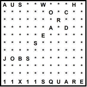 Australian 11x11 Wordsearch puzzle no.313 - jobs