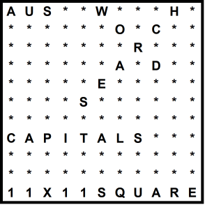 Australian 11x11 Wordsearch puzzle no.314 - capitals