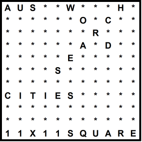Australian 11x11 Wordsearch puzzle no.318 - cities