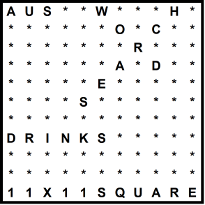 Australian 11x11 Wordsearch puzzle no.319 - drinks