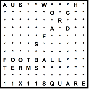 Australian 11x11 Wordsearch puzzle no.323 - football terms