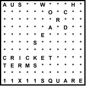 Australian 11x11 Wordsearch puzzle no.324 - cricket terms