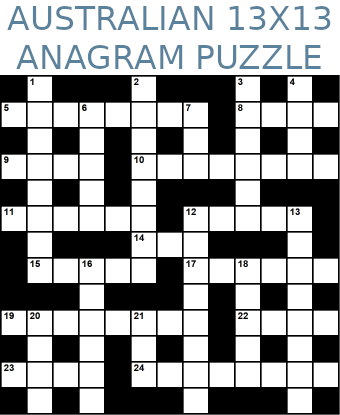 Australian 13x13 anagram crossword puzzle no.304